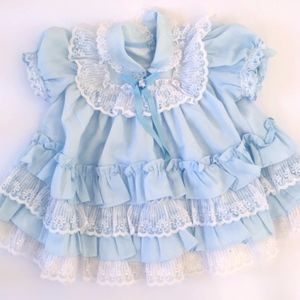 Other - Vintage Handmade 12M 18M Ruffled Dress Lace Blue